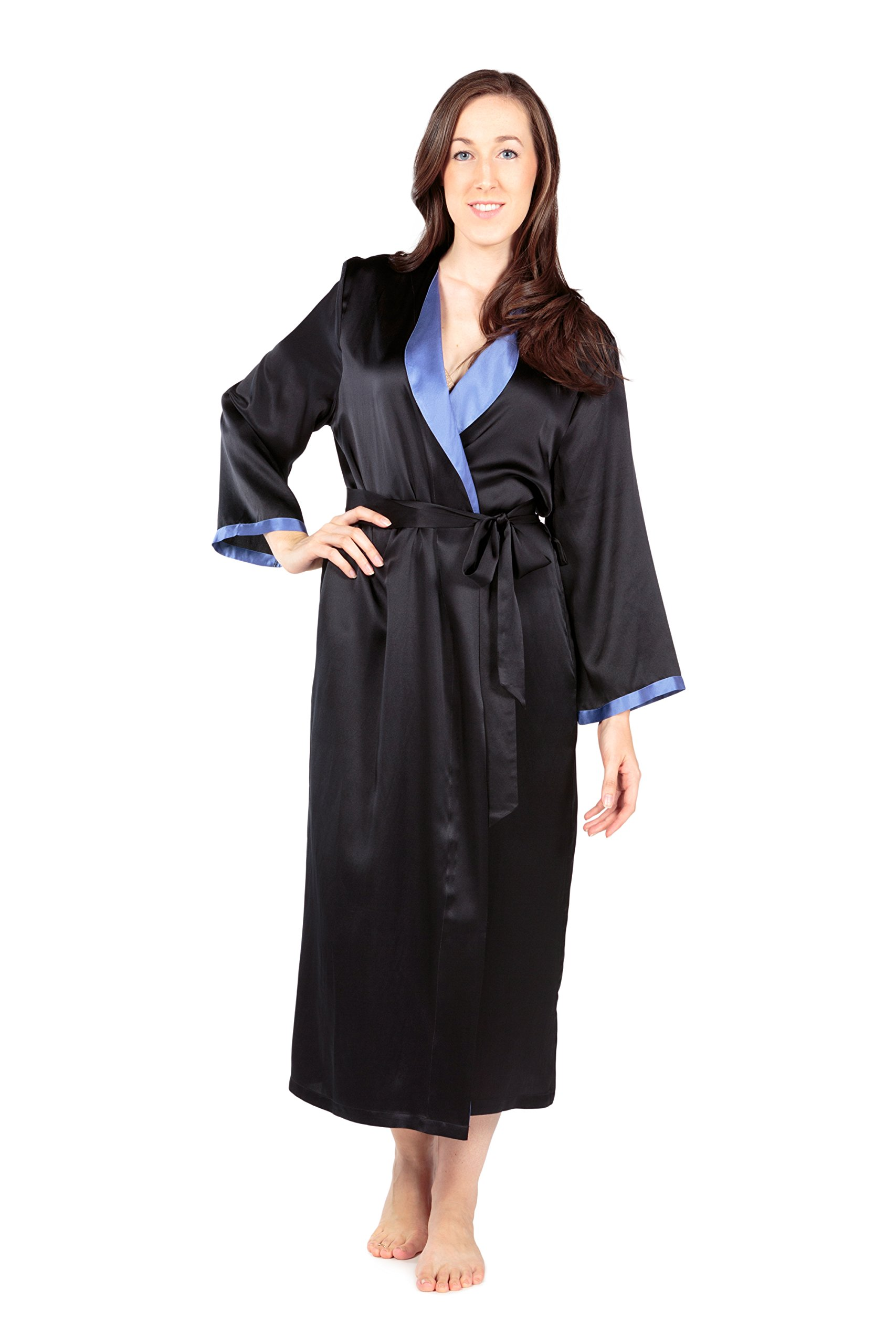 Women's Luxury Long Silk Bathrobe - Sleepwear Robe by TexereSilk (Beautibliss, Black, Large/X-Large) Popular Gifts for Women WS0102-BLK-LXL by TexereSilk (Image #1)