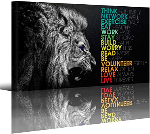 Amazon Com Animal Lion Canvas Wall Art Motivational Inspirational Quotes Picture Canvas Prints With Frame Wall Art Decorative 1inch Thick Frame Posters Prints