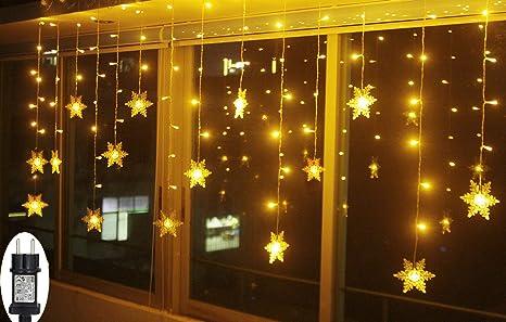 Weihnachtsbeleuchtung Für Innen Und Außen.Smithroad Led Lichtervorhang Schneeflocke Für Weihanchten Party Ip44 24v Niederspannung Mit 8 Modi 94er Lichterkette Weihnachtsbeleuchtung Für Innen