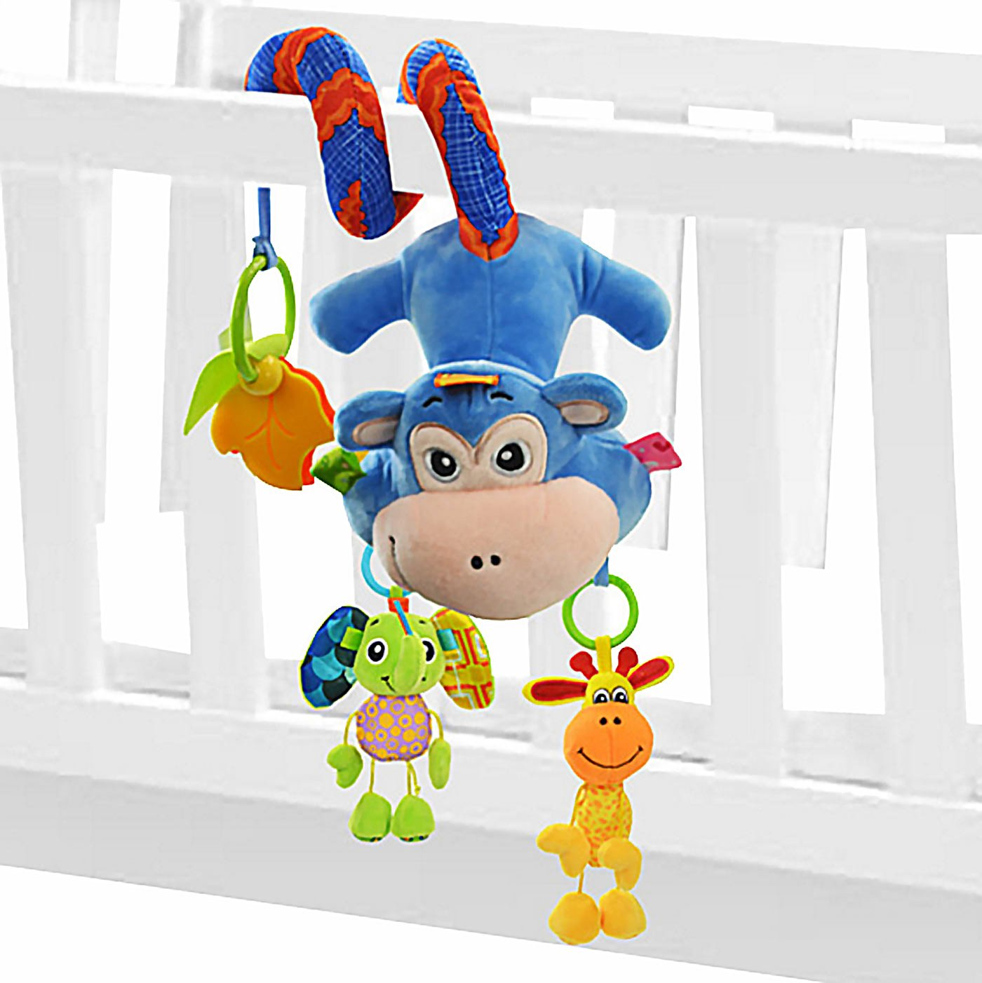 SOZZY Azul Juguetes Colgantes Espiral de Animales para Cuna Cochecito Carrito beb/és Recien nacidos Peluche con Mordedor Sonido para ni/ños ni/ñas arrastrar Mono