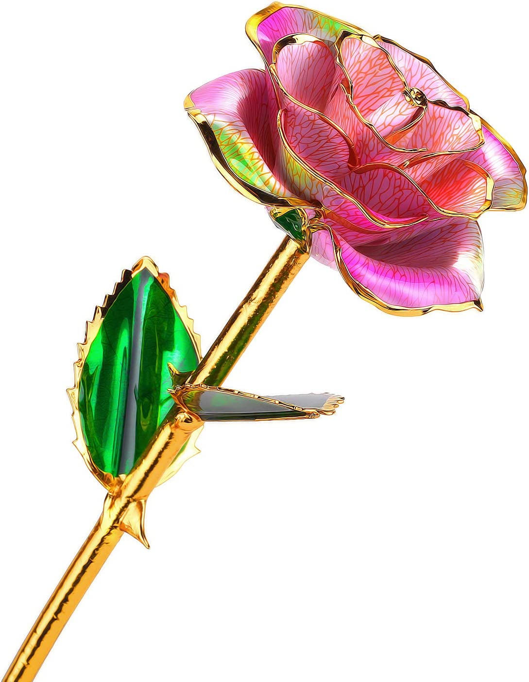 24k Gold Rose Flower with Long Stem Rose Dipped in Gold Gift for Women Girls on Birthday, Valentine's Day, Mother's Day, Christmas (Pink+Green)