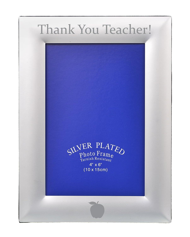Amazon.de: Thank You Teacher Gravur personalisierbar silber Foto ...