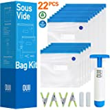 Sous Vide Bags for Joule and Anova - 15 Reusable BPA-Free Food Vacuum Sealer Bags with Vacuum Hand Pump - Sous Vide Bag…