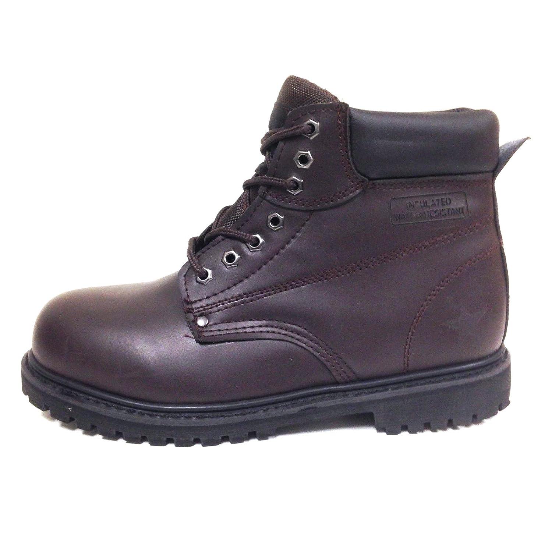 "G4U Z-7626 Men's Steel Toe Work Boots Black Leather 6"" Lug Sole Oil Resistant..."