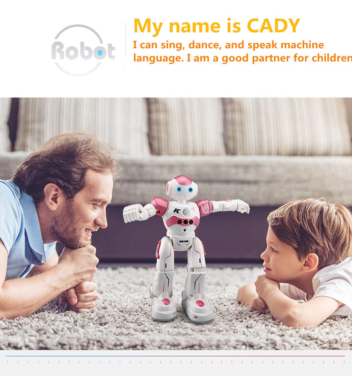 WEECOC Smart Robot Toys Gesture Control Remote Control Robot Kids Toys Birthday Can Singing Dancing Speaking Two Walking Models (White) by WEECOC (Image #10)