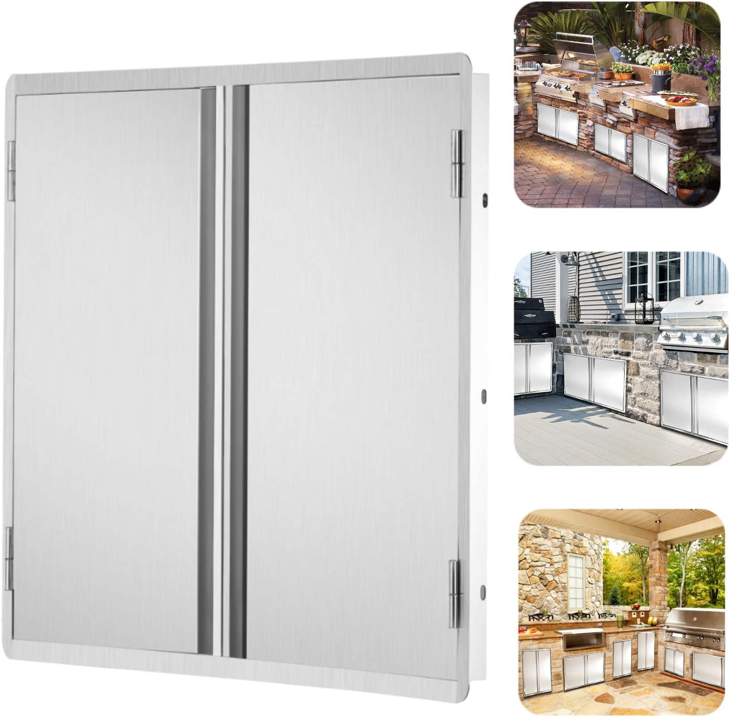 Amazon Com Outdoor Kitchen Doors Stainless Steel Doors Bbq Access Door Vertical Outdoor Kitchen Cabinets 304 Stainless Steel Double Door For Outdoor Kitchen Grilling Station And Bbq Island 17 W X 24 H