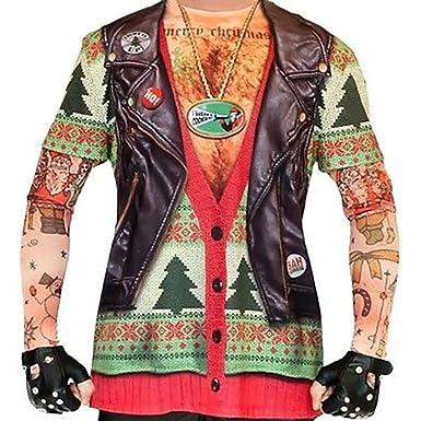 a4842b116c68 Biker Tattoo Men s Christmas Ugly Christmas Sweater Long Sleeve T-Shirt ...