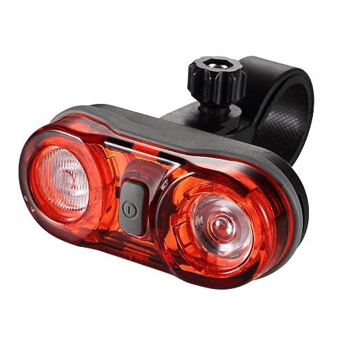 Green Click LED éclairage de vélo Feu arrière de vélo, 2* 0.5W ultralhell Rouge LED, fonctionne avec 2piles AAA Pile, 3sélections de lumière, IPX4, étan