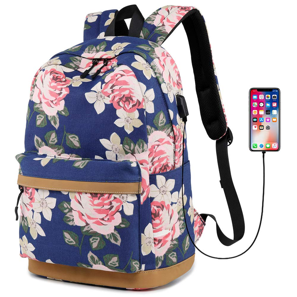 MORGLOVE Canvas Backpack for Girls Teenager High School Bookbag with Charging Port Lightweight Pink 17.3H 11.8L 7.48W