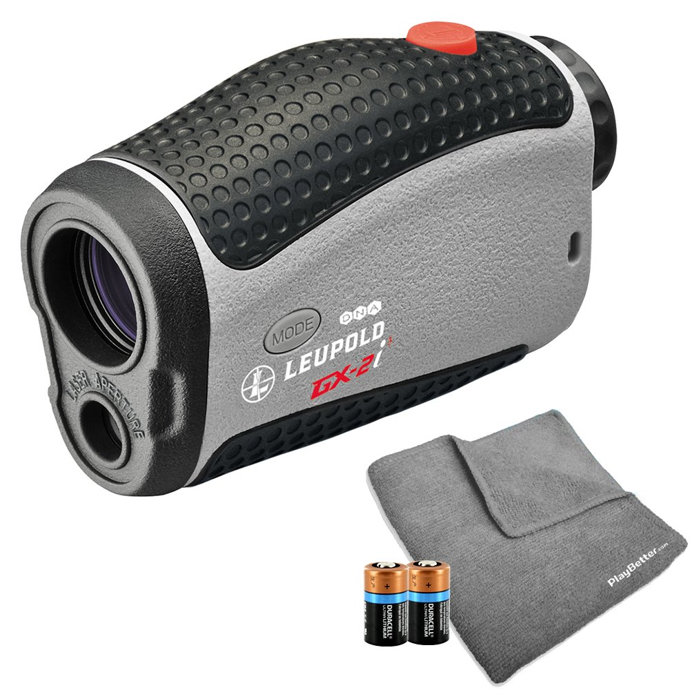 Leupold 2017 GX-2i3 Golf Rangefinder Bundle | Includes Golf Laser Rangefinder (Slope & Non-Slope Function) with Carrying Case, PlayBetter Microfiber Towel and Two (2) CR2 Batteries by PlayBetter (Image #1)