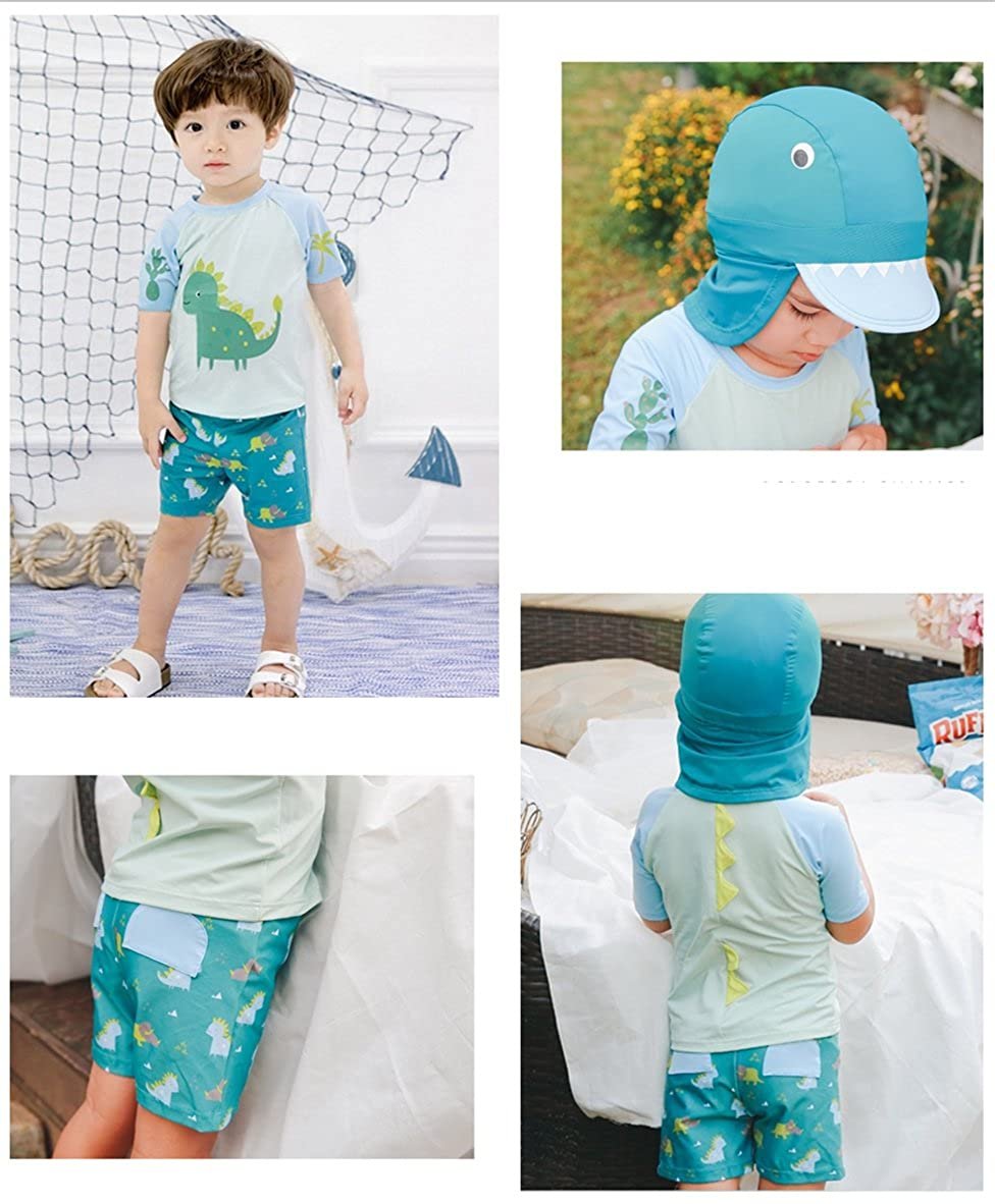 Baby Boy Swimsuit Set Toddler Two Pieces Sun Protection Rash Guards Dinosaur Bathing Suit with Hat 1-7t