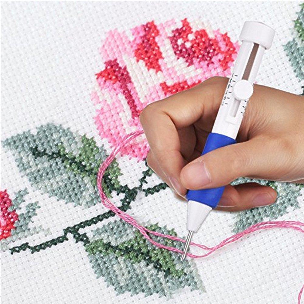 Agujas de punzón para bordar, juego de bolígrafos de bordado mágico con caja de almacenamiento, 50 hilos de punto de cruz de colores con costuras y tijeras ...