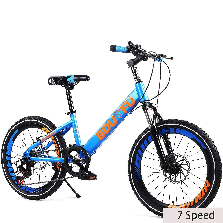 azul 20 Pulgadas Unisexo Bicicleta de montaña de suspensión 7 Velocidad Freno de Disco Doble Estudiante Niño Ciudad del Viajero Acero de Alto Carbono Cabellera Dura Bicicleta,naranja