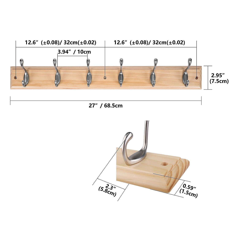 DOKEHOM 2 Piezas 6-Percheros de Pared (Disponible 4 y 6 Ganchos) Sobre Tabla de Madera Perchero Percha, Caja de Embalaje (Ashtree): Amazon.es: Hogar