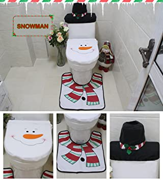 Cute 3 Piece Snowman Santa Toilet Seat Cover Tank Rug Set For