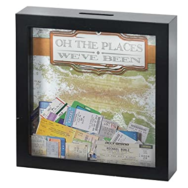 Oh the Places We've Been 7 x 7 Black Wood Framed Shadow Box Ticket Stub Holder