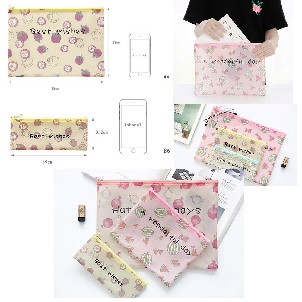 3PCS Cute File Bag Stationery Bag Pouch File Envelope for Office/School Supplies, Watermelon B6 by Kylin Express (Image #1)