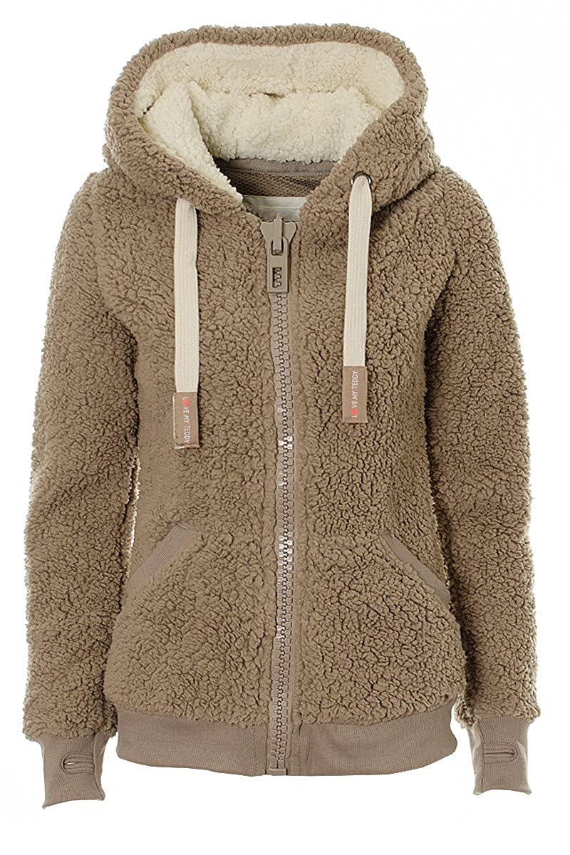 Fuchia boutique Ladies Womens Soft Teddy Fleece Hooded Jumper Hoody Jacket Coat S/M/L/XL/XXL