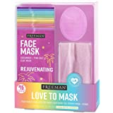 Freeman Facial Love To Mask Variety Pack: Oil Absorbing Clay, Detoxifying Charcoal, Clearing Peel Off, Hydrating Gel Cream, E