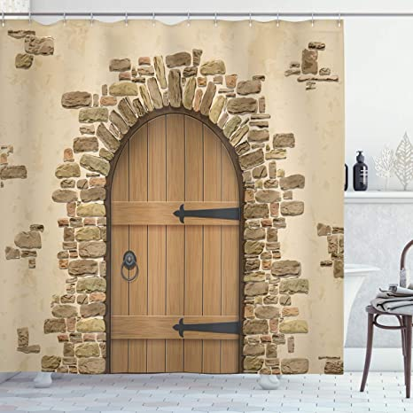 Amazon Com Ambesonne Rustic Shower Curtain Wine Cellar Entrance Stone Arch Architecture European Building Cloth Fabric Bathroom Decor Set With Hooks 84 Long Extra Sand Brown Home Kitchen