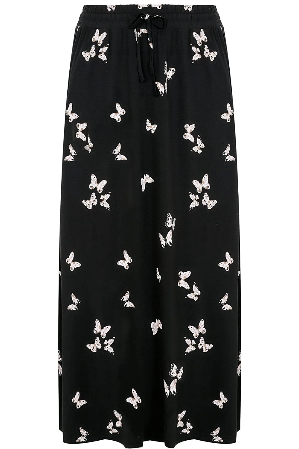 b66fa949479d9 Yours Women s Plus Size Butterfly Print Pull On Maxi Skirt with Side Splits  Size 16 Black  Amazon.co.uk  Clothing
