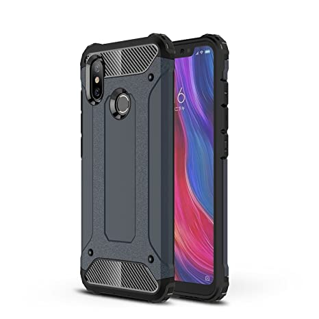 AOBOK Funda Xiaomi Mi 8, Doble Capa Híbrida Armor Funda Shock-Absorción Armadura Proteccion Carcasa para Xiaomi Mi 8 Case (Azul Profundo)