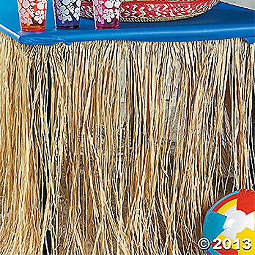 2 Real RAFFIA Natural Grass Table Skirt Hawaiian Luau Party Lot Beach Decor (Flowered Table Skirt)