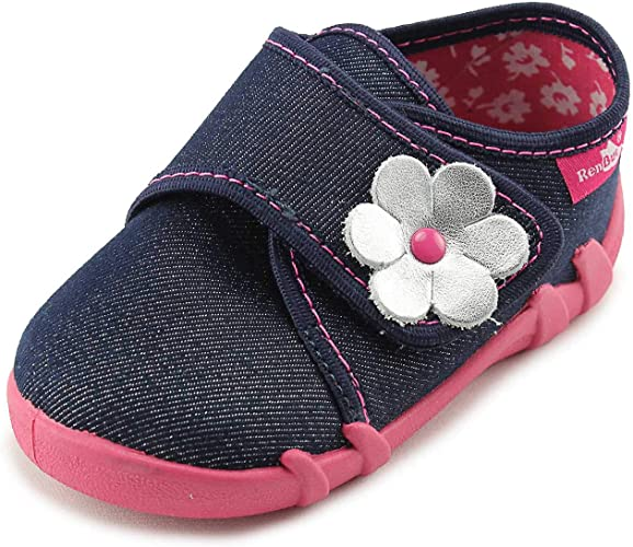 RenBut Navy Girls Slippers Shoes