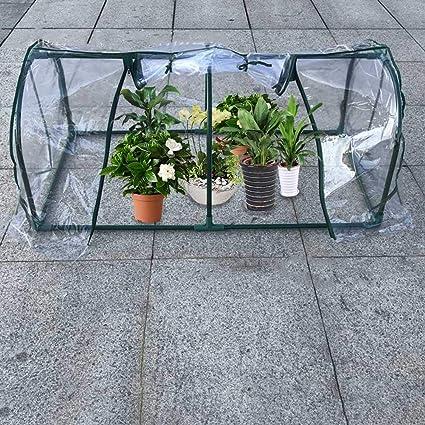 Pequeño invernadero con diseño de flores y cobertizo, con cubierta transparente