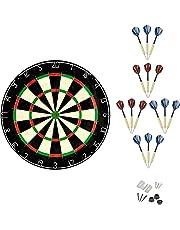 Linkvisions Sisal/Bristle Dartboard with Staple-Free Bullseye, 18g Steel Tip Darts Set, Mounting Kits Included