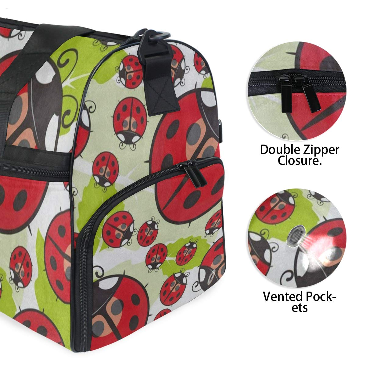 Travel Tote Luggage Weekender Duffle Bag Cartoon Ladybug The Leaves Large Canvas shoulder bag with Shoe Compartment