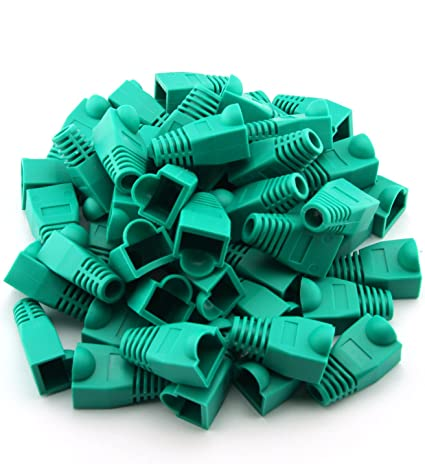 CAT5e//6 RJ45 Ethernet Patch Cable Strain Relief Boots Green Qty of 100 pcs