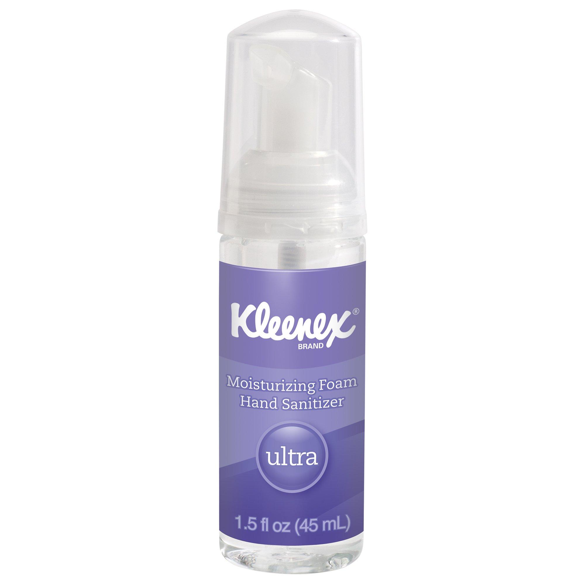 Kleenex Ultra Moisturizing Foam Hand Sanitizer (34604), Clear, 1.5 oz. Pump Bottles, 24 Bottles / Case