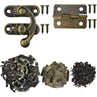 Marrywindix 80pcs Small Box Hinges, 40 Sets Antique Right Latch Hook Hasp Wood Jewelry Box Hasp Catch Decoration with…