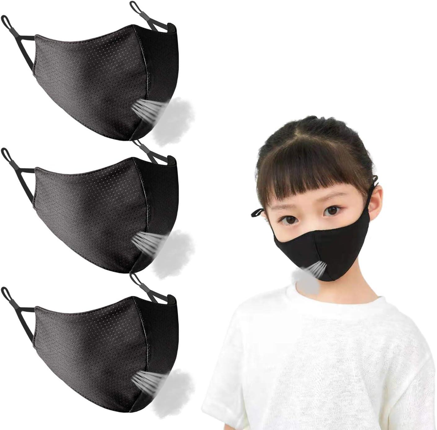 Direct store Borgasets Kids Face Mask Reusable Black Reservation Exercise Adjustable Brea