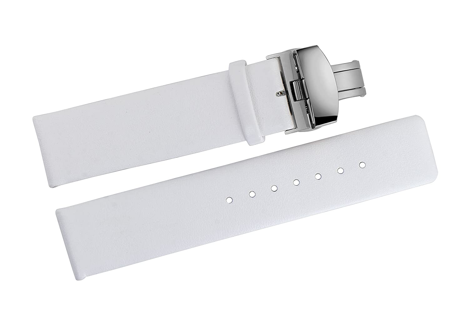 8a414949d8b9 18mm Luxury White Matt Leather Watch Bands Smooth Soft Cowhide without Pattern  with Butterfly Clasp Buckle