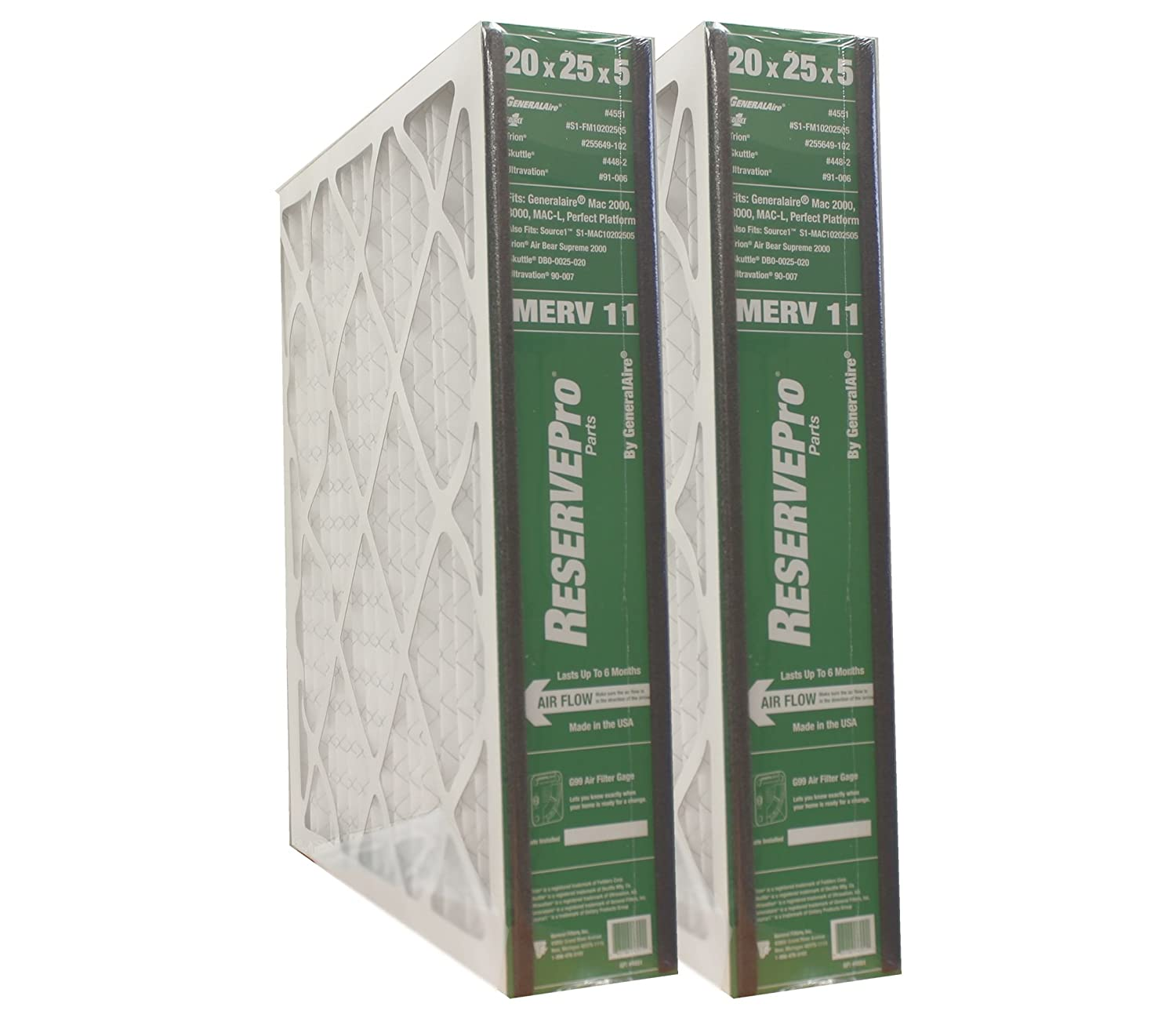 """GeneralAire # 4551 for 4501 ReservePro 20x25x5 furnace filter, Actual Size:19 5/8"""" x 24 3/16"""" x 4 15/16"""" - Case of 2 Filters"""