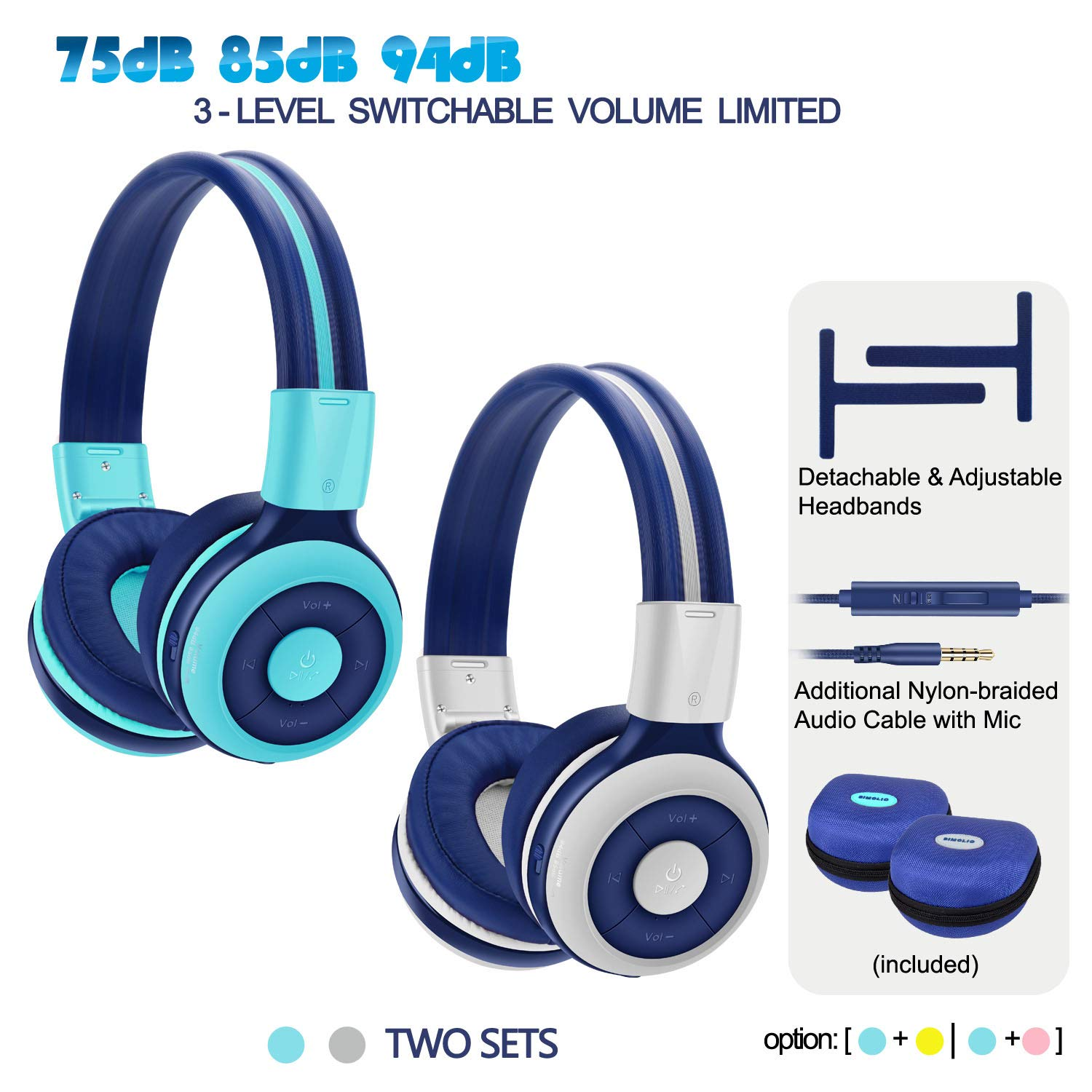 2 Pack of SIMOLIO Bluetooth Headphone for Teens, Kids Headphone with 75dB,85dB,94dB Volume Limited, Kids Bluetooth Headphone with Mic, On-Ear Headset with in-Line Audio Control for Game (Mint+Grey)