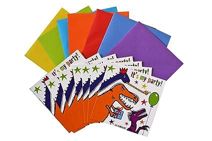 Dinosaurio 14 unidades invitaciones de cumpleaños sobres autoadhesivos de colores.