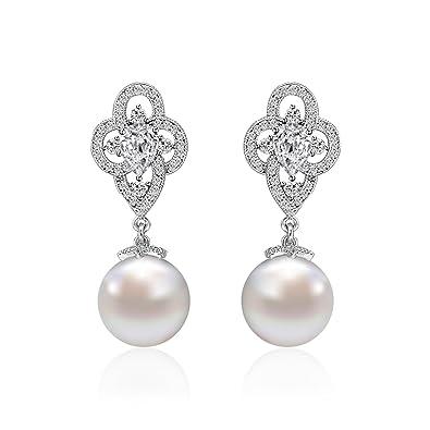 10314b237 Pearl Drop Earrings Women LOVE$CLOVER 925 Sterling Silver CZ Freshwater  Cultured Pearl Tear Drop Hook Dangle Earrings Clear: Amazon.co.uk: Jewellery