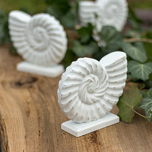 Badezimmer Deko Ammonit Weiss Aus Holz 12 5 X 14 5 X 4 Cm Deko