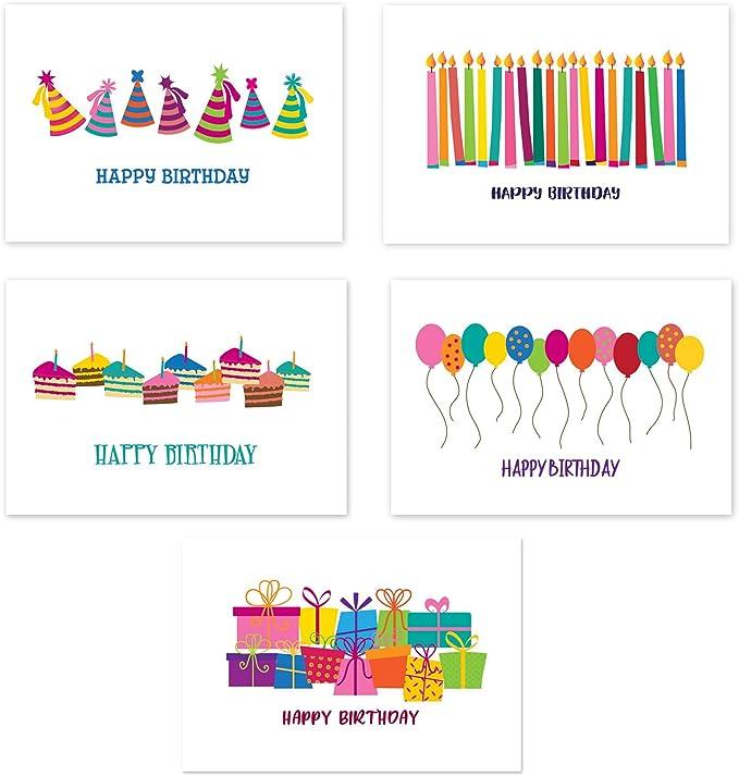 Amazon.com: 50 Feliz Cumpleaños postales – 5 diseños ...