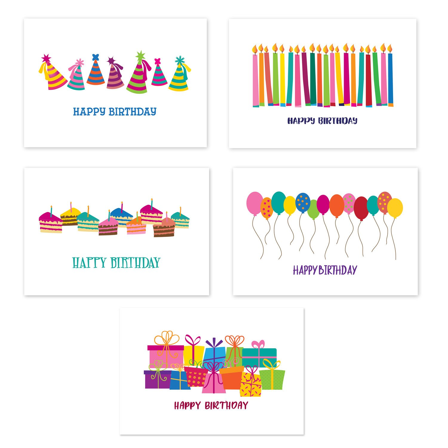 50 Happy Birthday Postcards - 5 Fun Birthday Designs - 4'' x 6'' Postcards