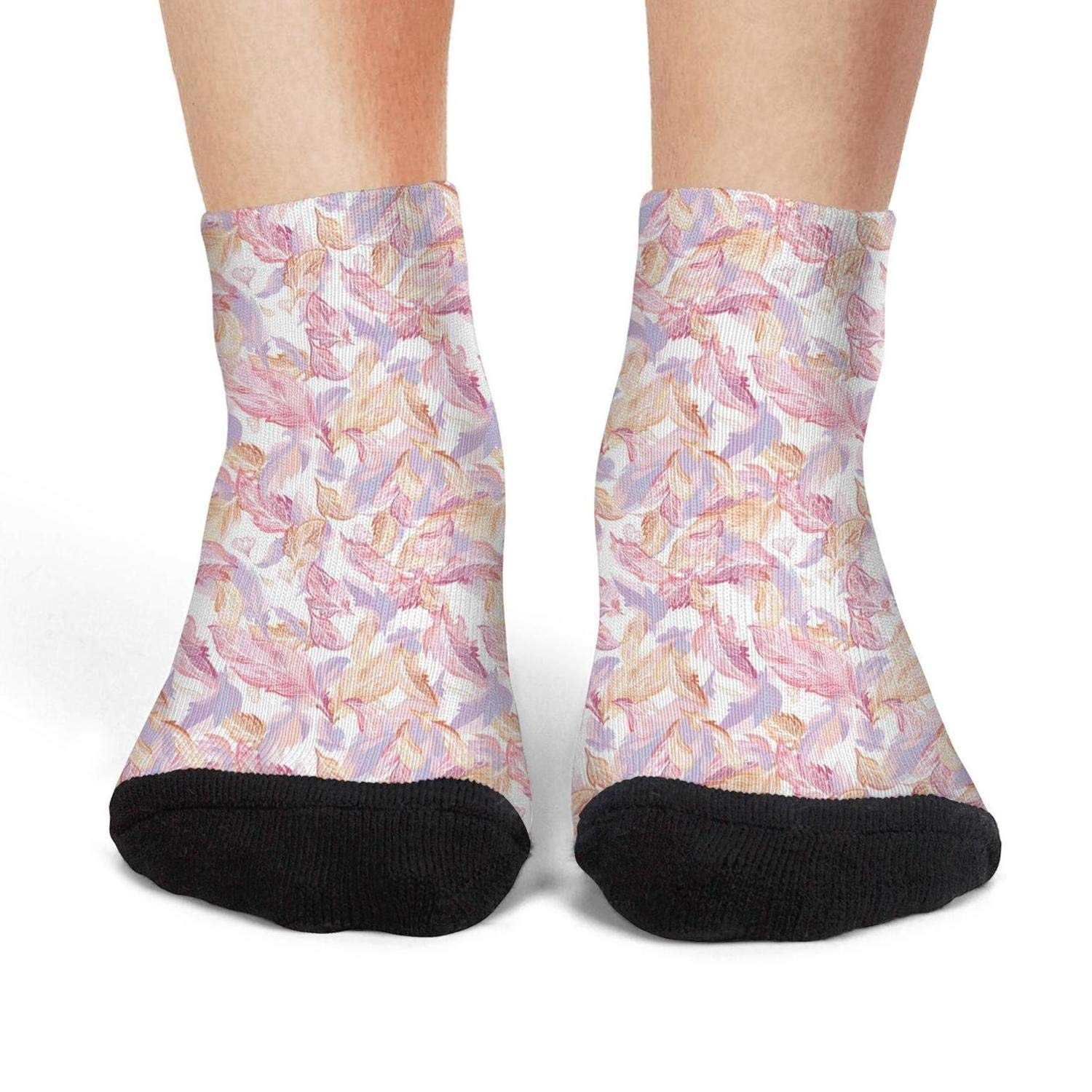 Mens low cut athletic Ankle sock Romantic Feather Pattern Breathable Short Sock