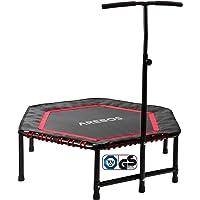 Arebos Fitness trampoline met handgreep, tot 120 kg, TÜV-getest, lichaamstraining en cardio-workouts, stille rubberen…