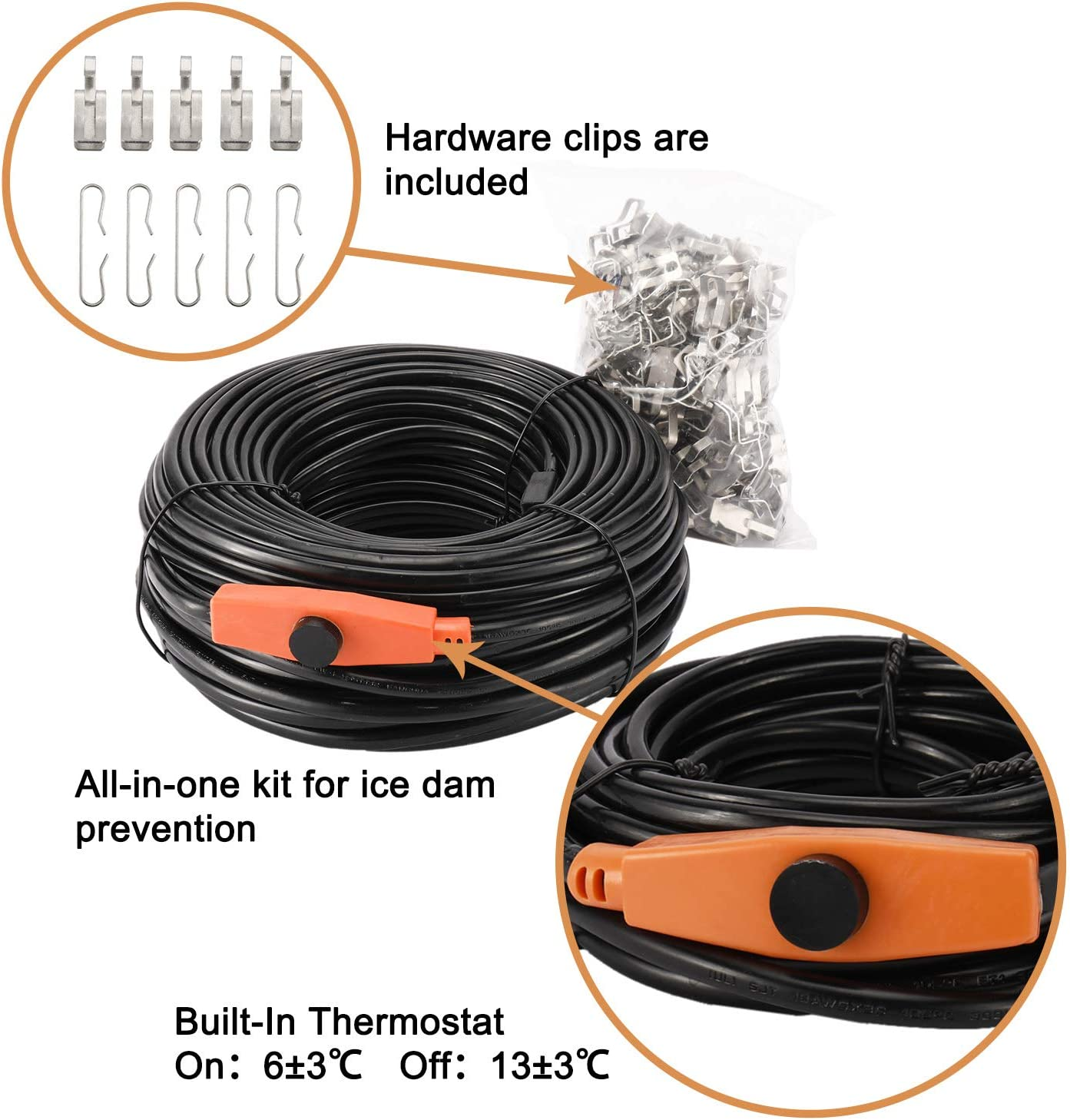 On:6/±3℃ Off:13/±3℃ DasMarine Roof Gutter De-Icing Heat Cable,Roof Gutter Snow De-Icing Cable,Roof Snow Ice Melter All-in-One Kit for Ice Dam Prevention with Thermostat 160FT