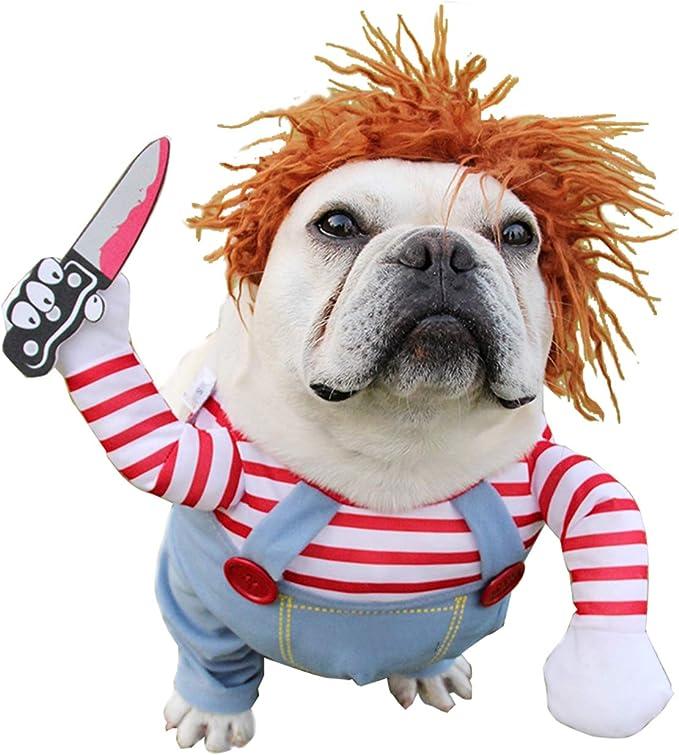 Roupa de cachorro de boneca mortal Trajes de Halloween para cães Trajes de cosplay de cachorro ajustável