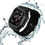 「水泳・スポーツ専用」Kartice for Apple Watch Series 5/Apple Watch Series 4 44mm専用の完全防水ケース+バンド 30メートルで潜水が可能 完全保護 衝撃から保護 人気軍用級防水ケース&バンドセット 四色あり(ブラック)