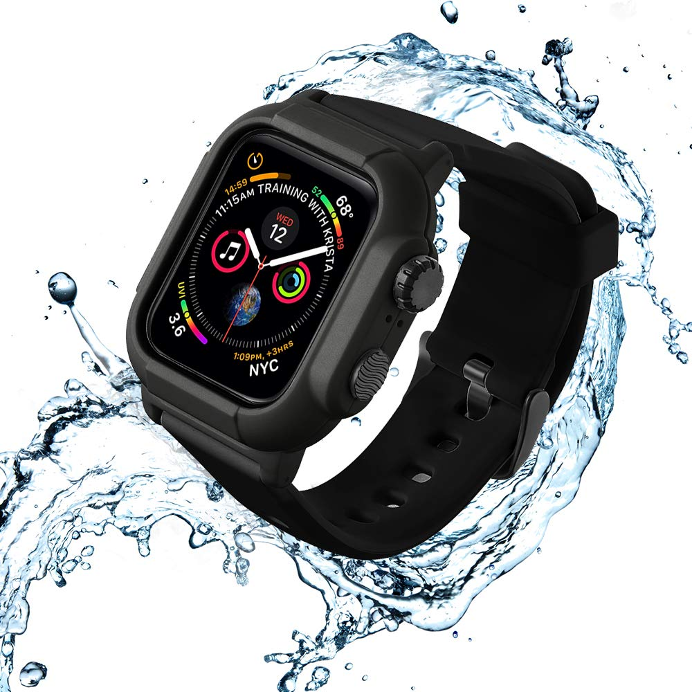 VANCHAN Compatible with Waterproof Apple Watch Case Band 44mm Series 4, IP68 Waterproof Protective Cover Soft Band for Iwatch Series 4 44mm (Black) by VANCHAN