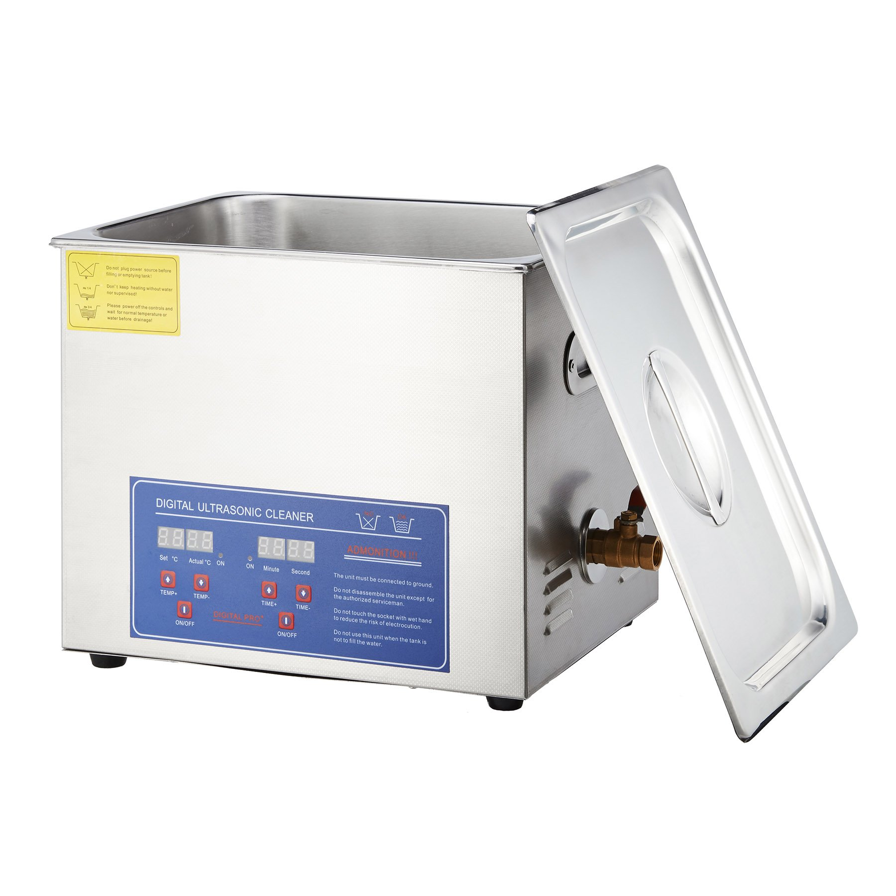 Tek Motion Stainless Steel Ultrasonic Jewelry Cleaner with Heater Timer, 15L